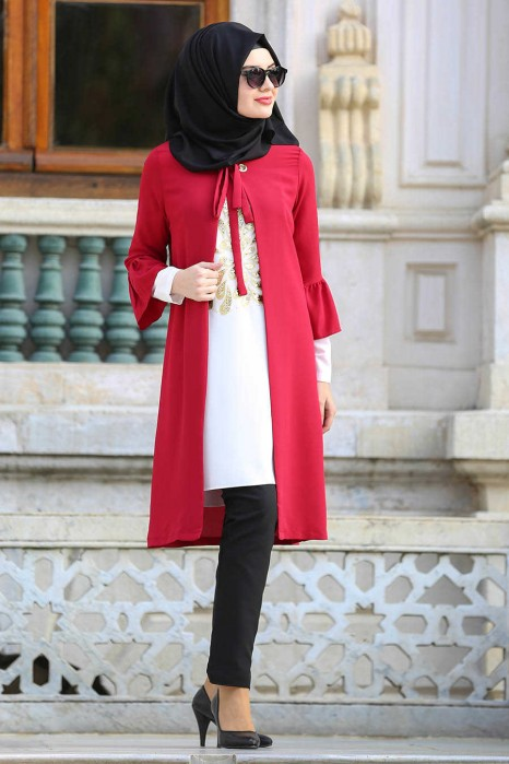 RED TUNIC AND CARDIGAN
