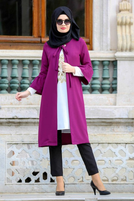 PLUM TUNIC AND CARDIGAN SUIT