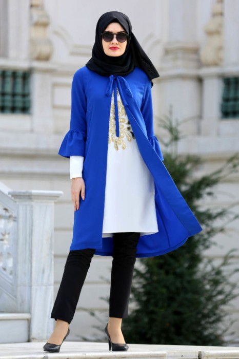 SAX BLUE TUNIC AND CARDIGAN