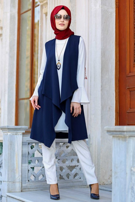 NAVY BLUE TUNIC AND VEST SUIT
