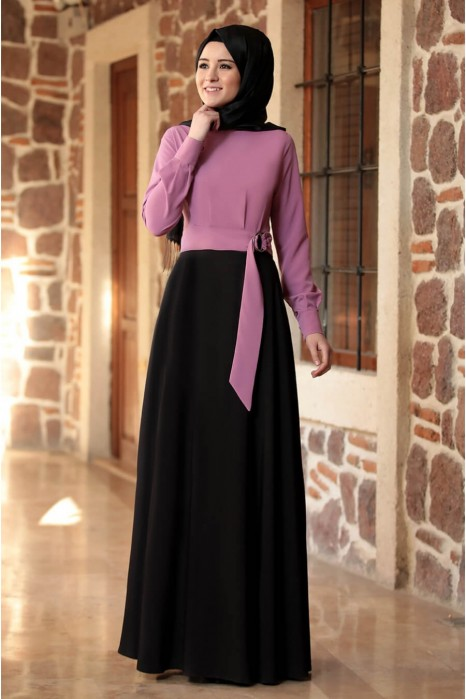 LILA BLOUSE AND BLACK SKIRT