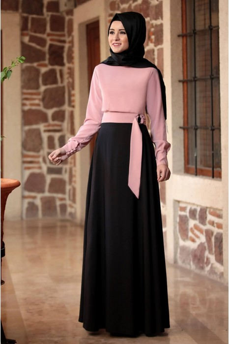 POWDER PINK BLOUSE AND BLACK SKIRT