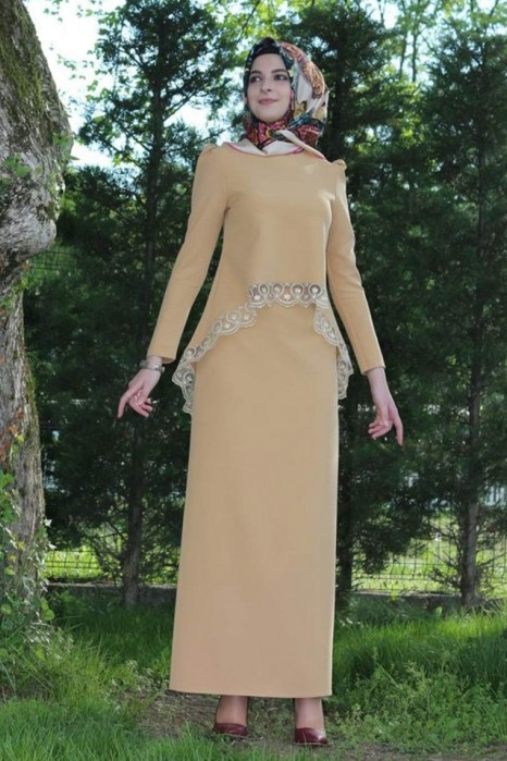 CARAMEL BLOUSE AND SKIRT SET