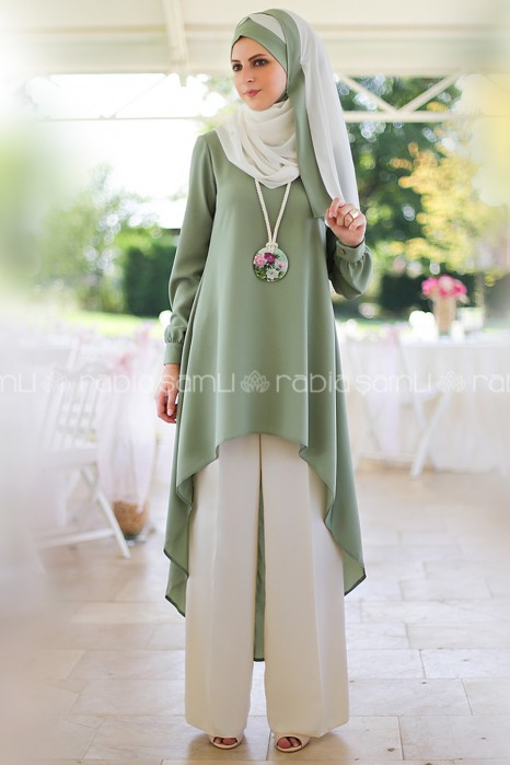 GREEN TUNIC AND PANT SUIT