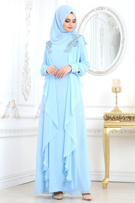 ICE BLUE EVENING DRESS