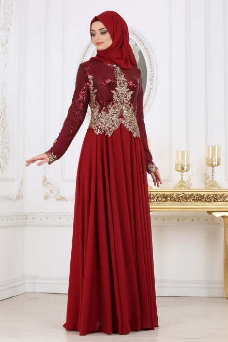 SEQUIN DETAILED CLARET RED EVENİNG DRESS