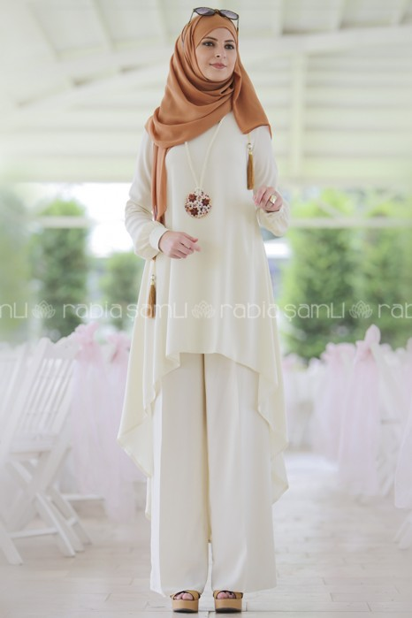 ECRU TUNIC AND SKIRT SUIT