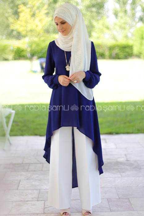 SAX BLUE TUNIC AND PANT SUIT