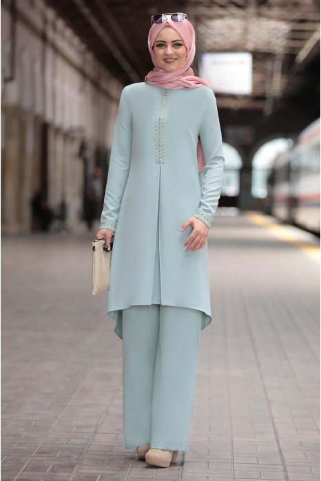 MINT COLOR TUNIC AND PANT SUIT