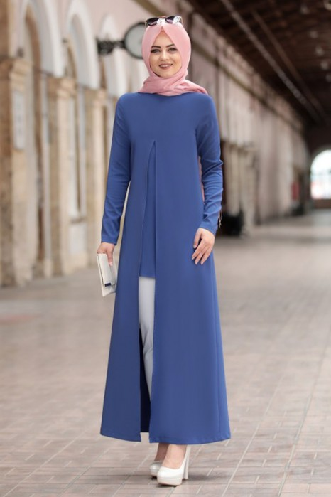 INDIGO COLOR TUNIC AND PANT SUIT