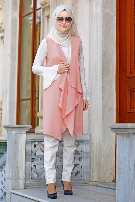 SALMON VEST AND TUNIC SUIT
