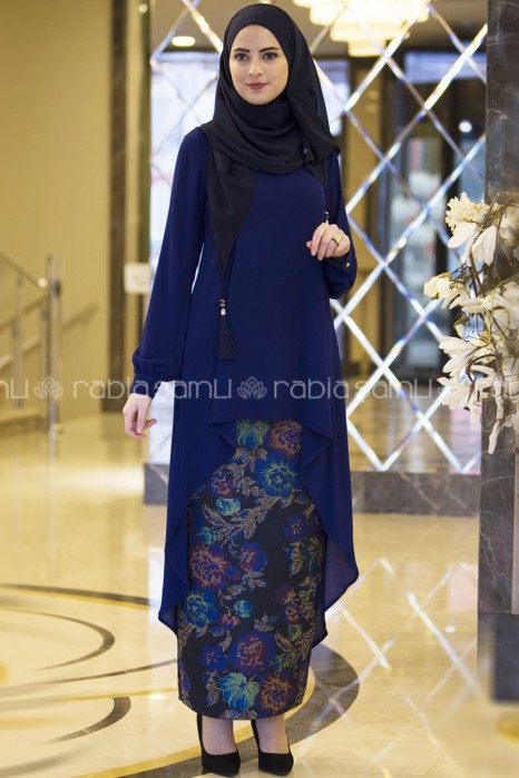 SAX BLUE TUNIC AND SKIRT SUIT