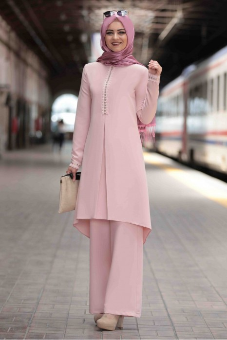POWDER PINK TUNIC AND PANT SUIT