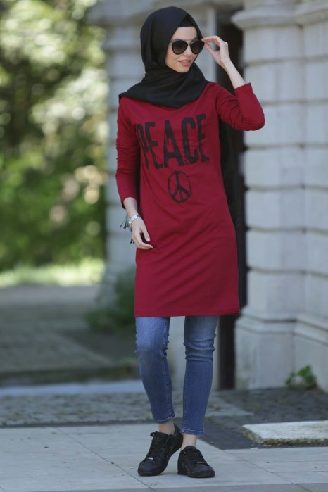 Peace Printed Claret Red Tunic