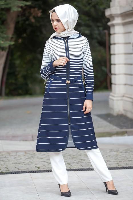 White/navy Coat