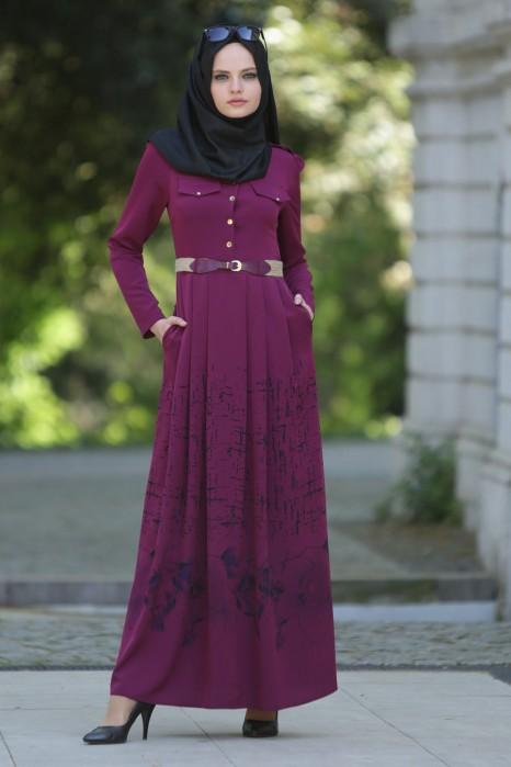 Floral Patterned Plum Dress