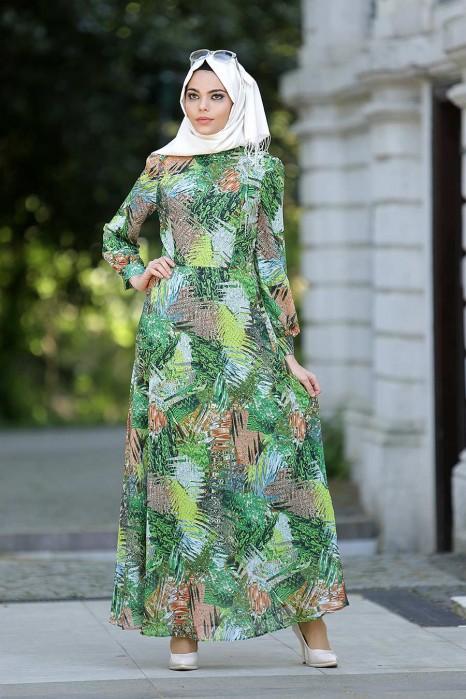 Flower Patterned Chiffon Dress