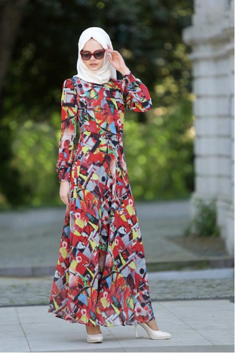 Flower Patterned Chiffon Dress