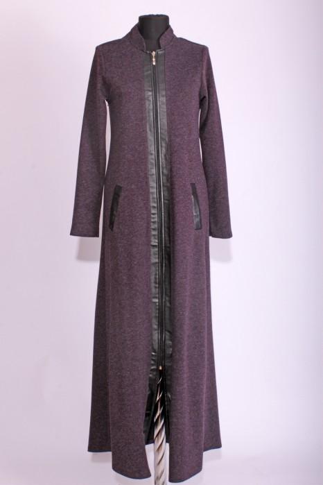 Leather Detailed Plum Abaya