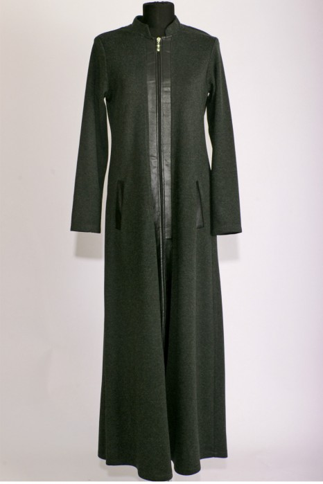 Leather Detailed Green Abaya