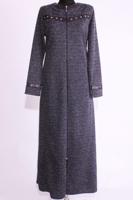 Leather Detailed Navy Blue Abaya