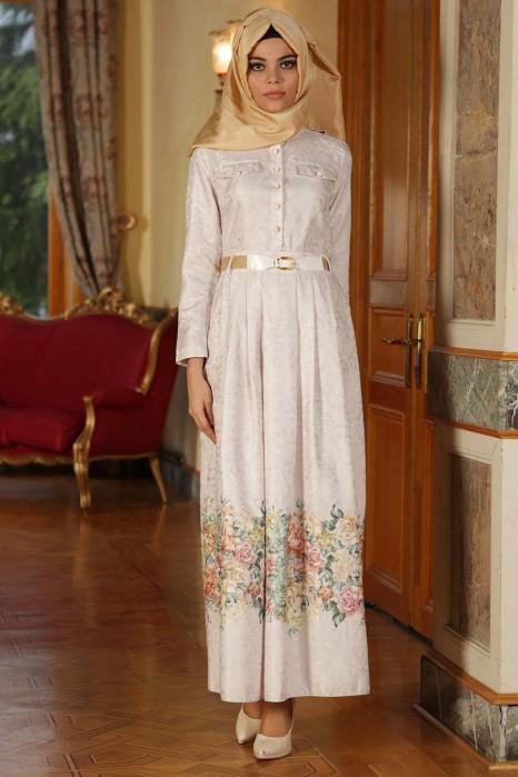 Flower Patterned Ecru Dress
