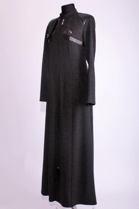 Leather Detailed Black Abaya