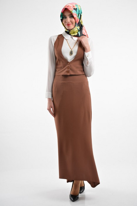 Tan Color Vest-skirt-shirt Set