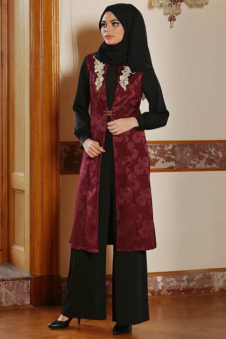 Plum Color Vest Wıth Jumpsuit