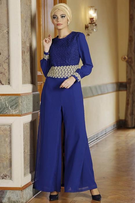 Gold Patterned Sax Blue Jumpsuit