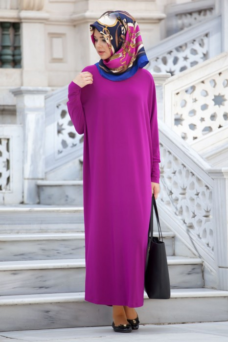 Fuchsia Color Standart Size Dress