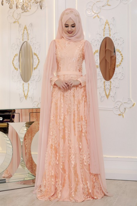 Salmon Color  Evening Dress