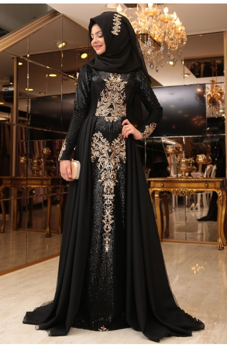 Gunes Black Evening Dress