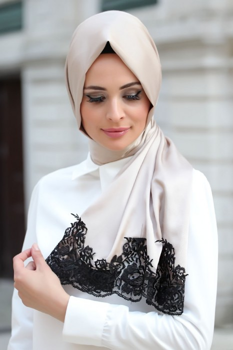 Silk Looking White Laced Shawl