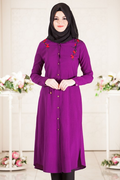 Embroidery Dress With Flowers On The Shoulders Purple
