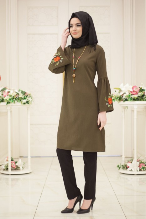 Neclaced Khaki Colored Tunic
