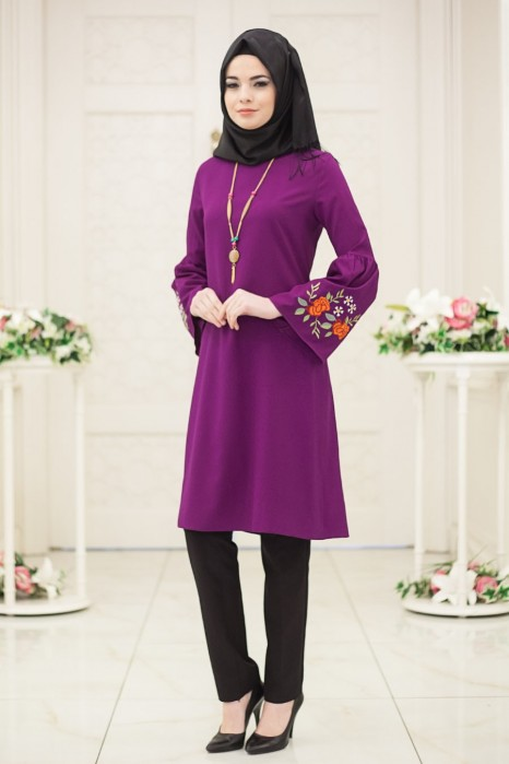 Neclaced Purple Colored Tunic