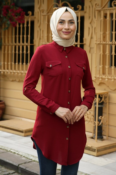TUNIC - CLARET RED COLOR