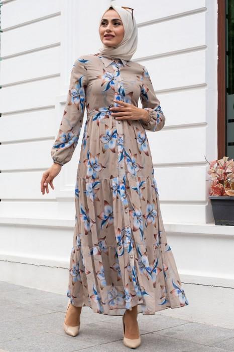 FLOWER PATTERNED BEIGE DRESS