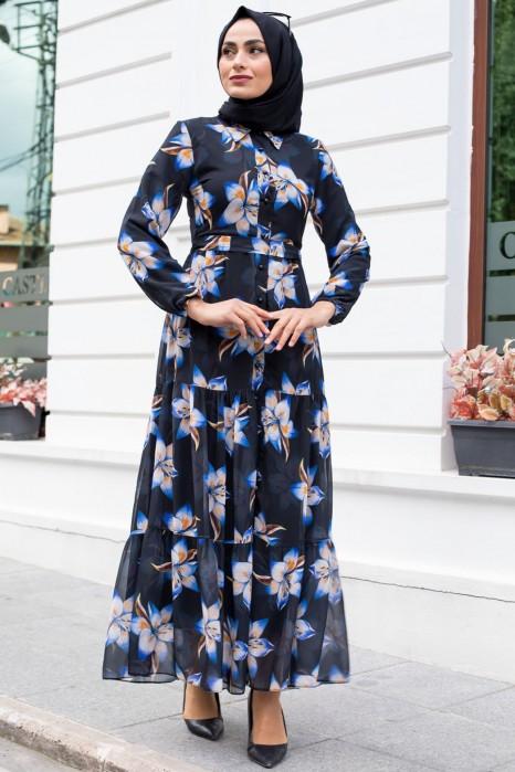 FLOWER PATTERNED BLACK DRESS