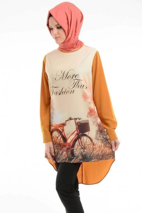 Bike Printed Mustard Tunic