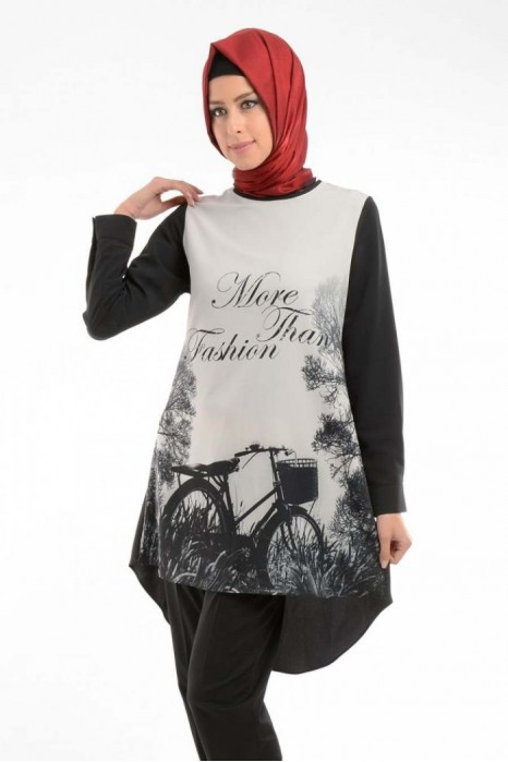 Bike Printed Black Tunic