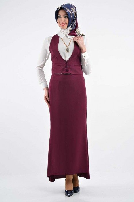 Plum Color Vest-skirt-shirt Set