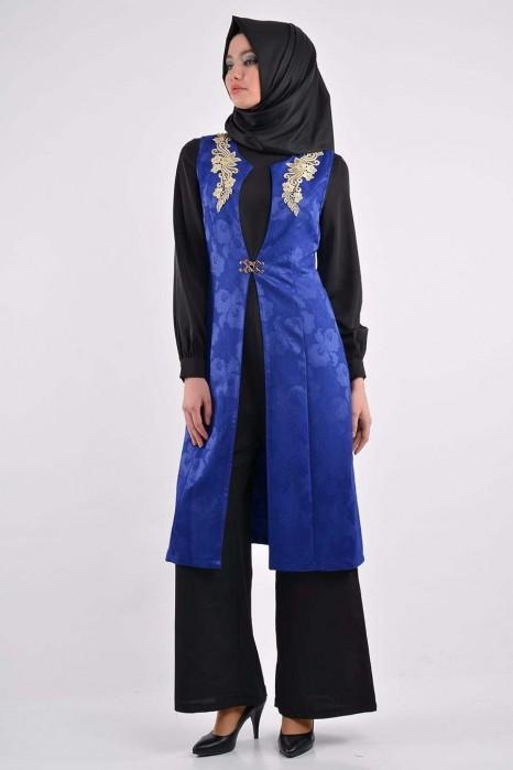 Sax Blue Dress With Jumpsuit