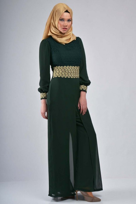 Gold Patterned Green Jumpsuit