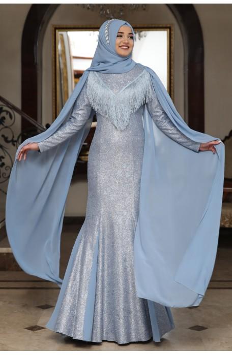INDIGO COLOR  EVENING DRESS