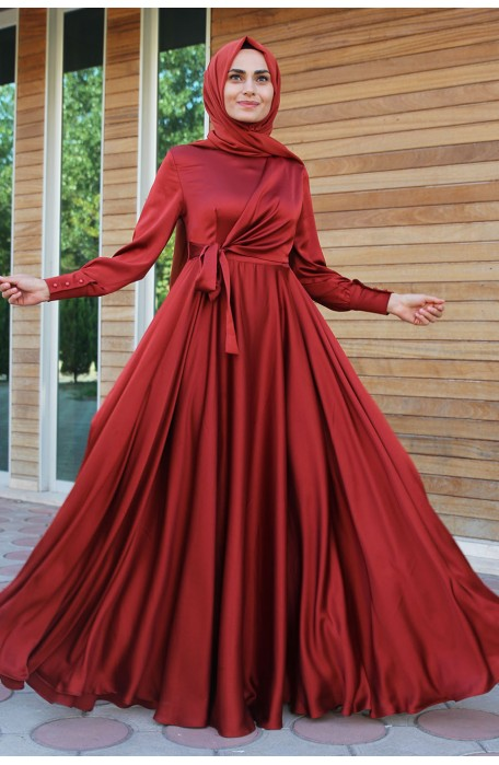 BRICK  COLOR  EVENING DRESS