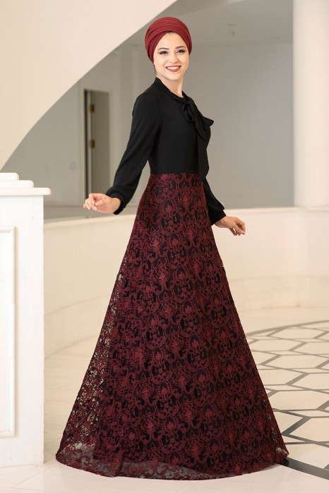 SIMGE EVENING DRESS - CLARET RED