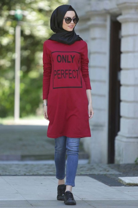 Only Perfect Printed Claret Red Tunic