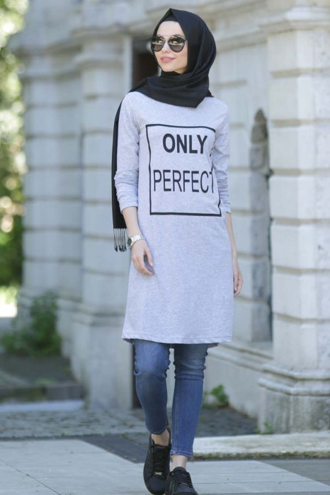 Only Perfect Printed Gray Tunic